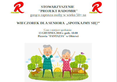 """Wieczorek dla seniora """"Spotkajmy się"""" 13 grudnia 2018"""