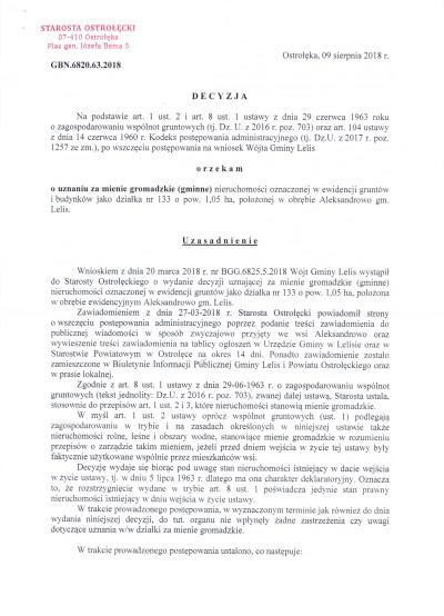 Decyzja o uznanie działki nr 133 za mienie gromadzkie