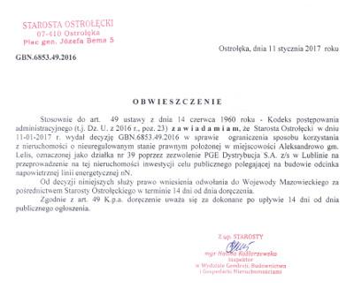 Ogłoszenie Starosty Ostrołęckiego z dnia 11 stycznia 2017