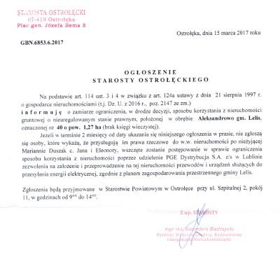 Ogłoszenie Starosty Ostrołęckiego z dnia 15 marca 2017