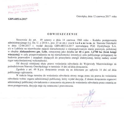 Ogłoszenie Starosty Ostrołęckiego z dnia 12 czerwca 2017