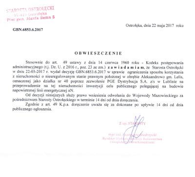 Ogłoszenie Starosty Ostrołęckiego z dnia 22 maja 2017